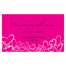 Contemporary Hearts Wedding Reception Escort Table Sign Card