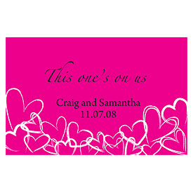 Contemporary Hearts Large Wedding Drink Ticket