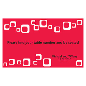 square wedding escort table sign card stationery
