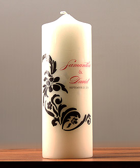 Love Bird Damask Personalized Unity Candle
