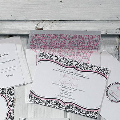 Love Bird Damask Wedding Envelope Liner
