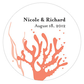 Large Coral Wedding Favor Sticker