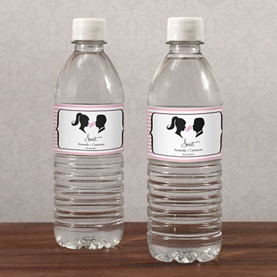 Sweet Silhouettes Wedding Water Bottle Label