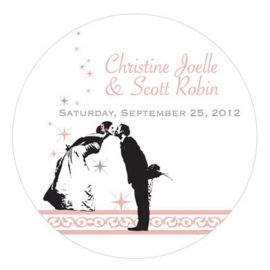 Vintage Hollywood Large Wedding Favor Sticker