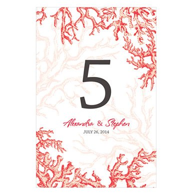 Reef Coral Wedding Table Number Wine Label
