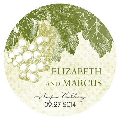 A Wine Romance Wedding Large Sticker