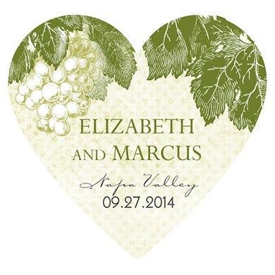 A Wine Romance Wedding Heart Sticker