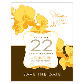 Orchid Glamour Wedding Save The Date Card