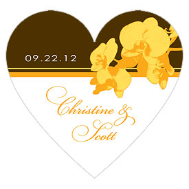 Orchid Glamour Heart Wedding Favor Sticker