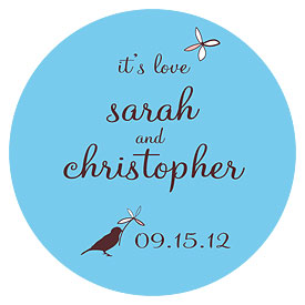 Whimsical Garden Small Wedding Favor Sticker
