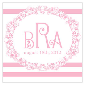Rococo Monogram Square Wedding Tag