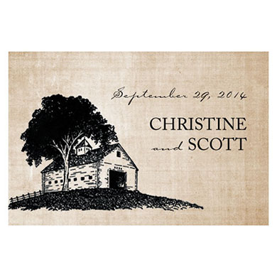 Rustic Country  Wedding Large Rectangular Tag