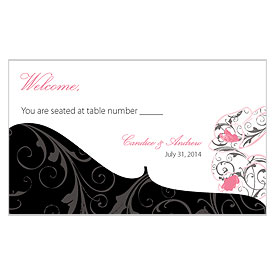 Classic Orchid Escort Table Sign Wedding Card