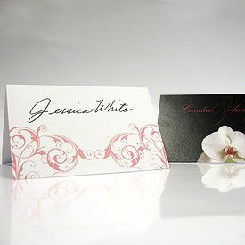Classic Orchid Wedding Place Card With Fold
