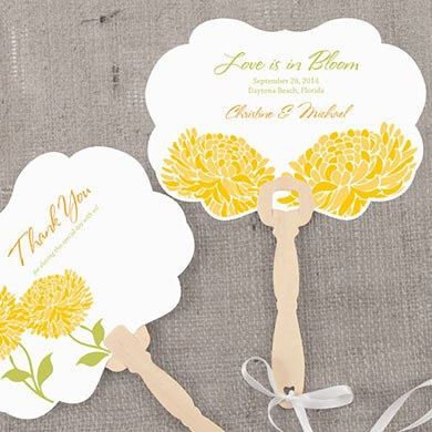 Zinnia Bloom Hand Fan Wedding Favor