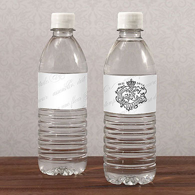 Parisian Love Letter Wedding Water Bottle Label