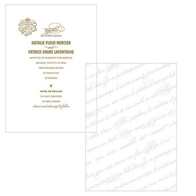 Parisian Love Letter Wedding Invitation