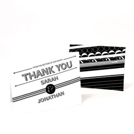 Black White Wedding Thank You Card