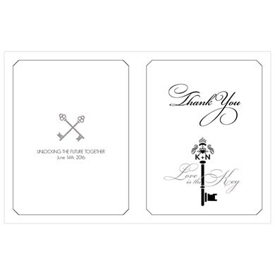 Key Monogram Wedding Signature Wedding Thank You Card
