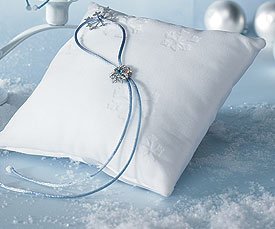 Winter Wonder Square Wedding Ceremony Ring Pillow