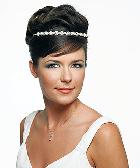 Woven Rhinestone and White Pearl Bridal Headband Wedding Hair Accessory