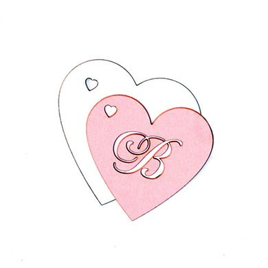 Laser Expressions Heart Monogram Tag