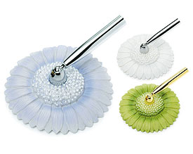 Pearl Gerbera Daisy Wedding  Guest book Pen Base