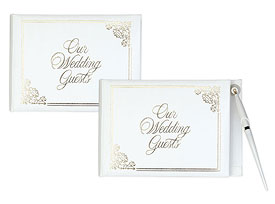 White Wedding Traditional Reception Guest Book