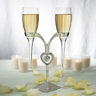 Clear Glass Wedding Reception Flutes with Silver Plated Stand