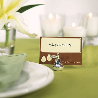 Pear Shaped Silver Place Card Holders