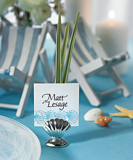 Silver Sea Shell Wedding Reception Place Card Holders