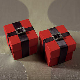 Passion Red Wedding Favor Box with Lid