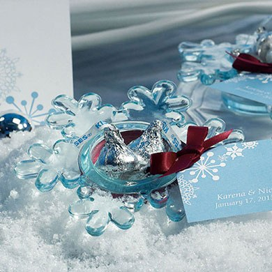 Snowflake Wedding Favor Candle Holders