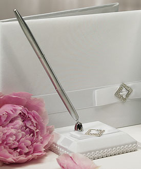 Pure Elegance in Wedding White Satin Wrapped Wedding Guestbook Pen Set