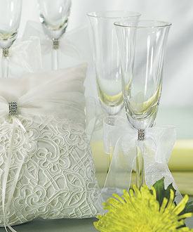 Bridal Tapestry Wedding Reception Toasting Flute Set