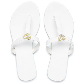 Crystal Heart T-Strap Bridal Sandal