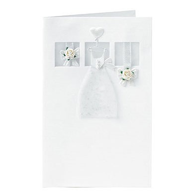 Ivory Dress with Roses Wedding Greeting Card