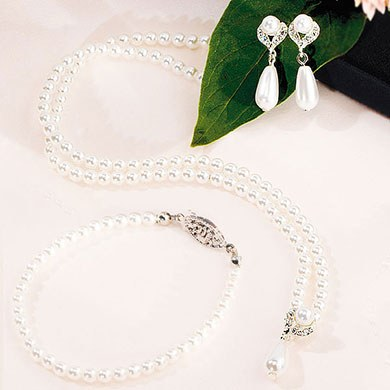 White Pearls with Pearl Drop Wedding  Bridal Party Jewelry