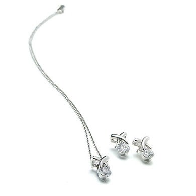 Cubic Zirconia X Design in Silver Two Piece Bridal Jewelry Accessory Set