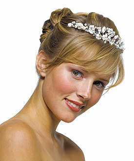 White and Rum Pearl Floral Wedding Bridal Tiara