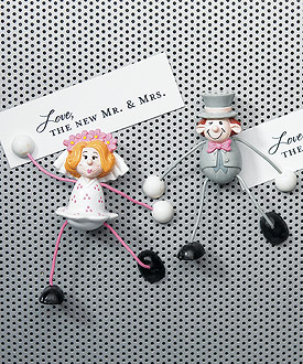 Bendable Comical Bride and Groom Wedding Favor Magnets