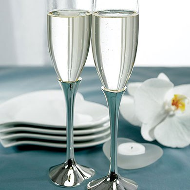Silver Plated Heart Stem Wedding Reception Glass Flutes