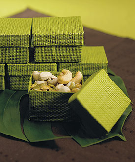 Organic Green 2 Piece Woven Wedding Favor Boxes