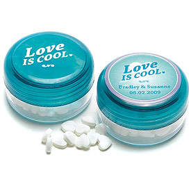 Love is Cool Heart Shaped Wedding Favor Mints