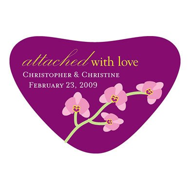 Mini Orchid Heart Container Wedding Favor Stickers