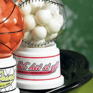 Baseball Theme Gumball Machine Wedding Favor