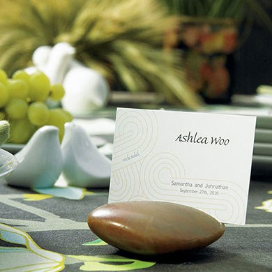Natural Rocks Wedding Table Place Card Holder with Card Etch