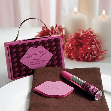 Read My Lips Lipstick Pen and Sticky Notes Wedding Favors with Gift Packaging
