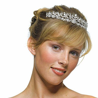 Bridal Accessory Tiara in Silver with Scrolls and Flowers