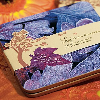 Fall Leaf Wedding Favor Sticker